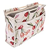 Knitting Tote Bag,Exquisite Practical Wood Handle Woven Fabric Storage Bag for Knitting Needles Sewing Tools(Red Flower)
