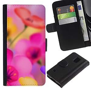 iBinBang / Flip Funda de Cuero Case Cover - Narciso flor rosa - Samsung Galaxy S5 V SM-G900