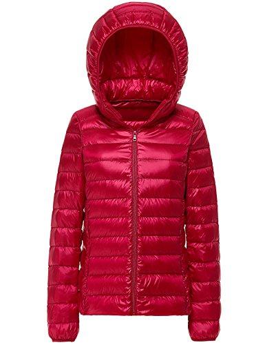 Peso Yeokou Del Packable Cappotto Rosso Femminile Piumino Puffer Incappucciato Breve Trapuntato Rrdrw