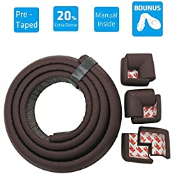 mambabydad(TM) Brown Premium Rubber Foam PRE-TAPED Edge & Corner Cushion [6.5ft Edge+6 Corner] to Protect Baby From Injury - Extra Dense - Perfect for Furniture, Table, Fireplace & Baby Proofing