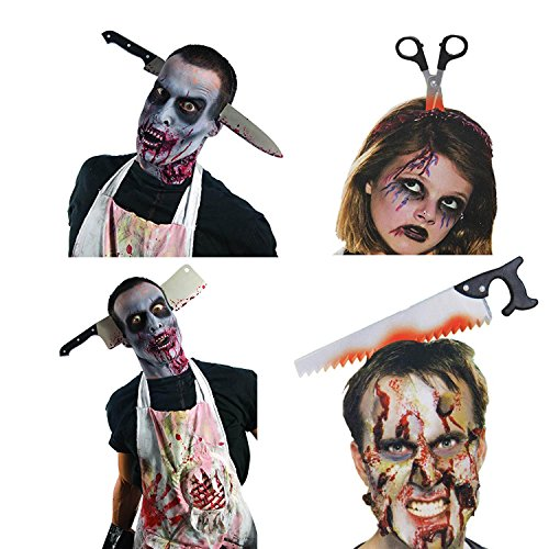 Halloween Horror Headbands,Realistic Bloody Cleaver, Knife, Scissors, Saw Blade for Child & Adult 4 Package