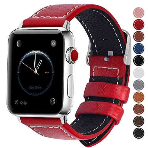 Fullmosa Compatible Smart Watch Band 38mm 40mm 42mm 44mm Genuine Leather Watch Bands,42mm 44mm Red + Silver Buckle