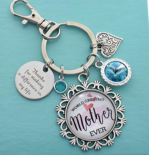 World's Greatest Mother Key Chain. Mom Gifts. Mother's Day. Keychain. Thanks for Making a Difference in My Life. Gift for Mother's Day