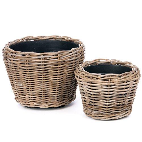 Skalny 9039 Round Rattan Euro Pot Planters 2Pc Set (Traditional Planter Wicker)