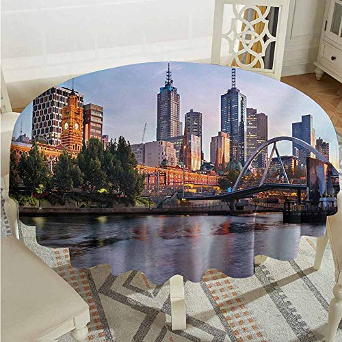 XXANS Custom Tablecloth,City,Early Morning Scenery in Melbourne Australia Famous Yarra River Scenic,Party Decorations Table Cover Cloth,63 INCH,Orange Green Pale Blue