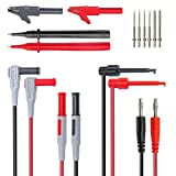 Amadget Electronic Test Leads Kit with Test Extension, Professional Multimeter Leads Volt Meter Clamp Meter Leads with Alligator Clips Replaceable Multimeter Probes Tips Set of 14