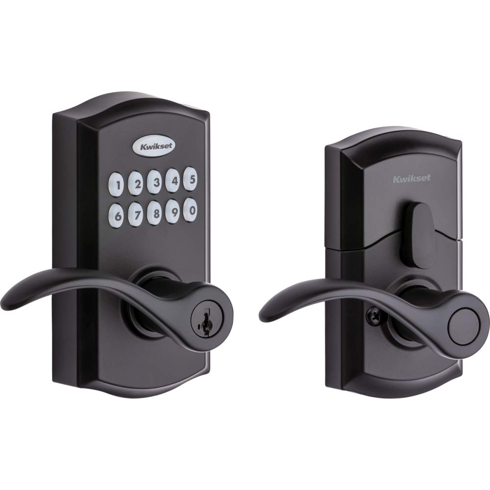Kwikset SmartCode 955 Keypad Electronic Lever Door Lock Deadbolt Alternative with Pembroke Door Handle Lever Featuring SmartKey Security in Iron Black