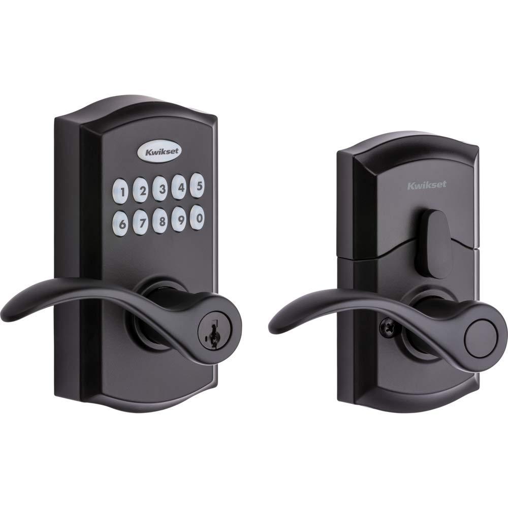 Kwikset SmartCode 955 Keypad Electronic Lever Door Lock Deadbolt Alternative with Pembroke Door Handle Lever Featuring SmartKey Security in Iron Black by Kwikset