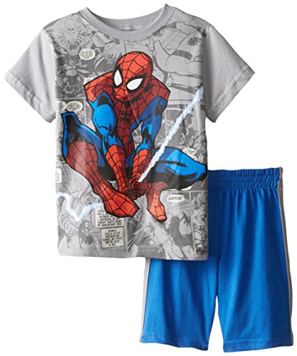 Marvel Little Boys' 2 Piece Spiderman Comic Book Short Set, Monument Grey/Blue, 4T