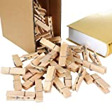 Betoores Large Wooden Clothespins Natural Color 2.8 Inch Photo Paper Pins Wood Snack Bag Clips Steel Springs (50 Per Pack)