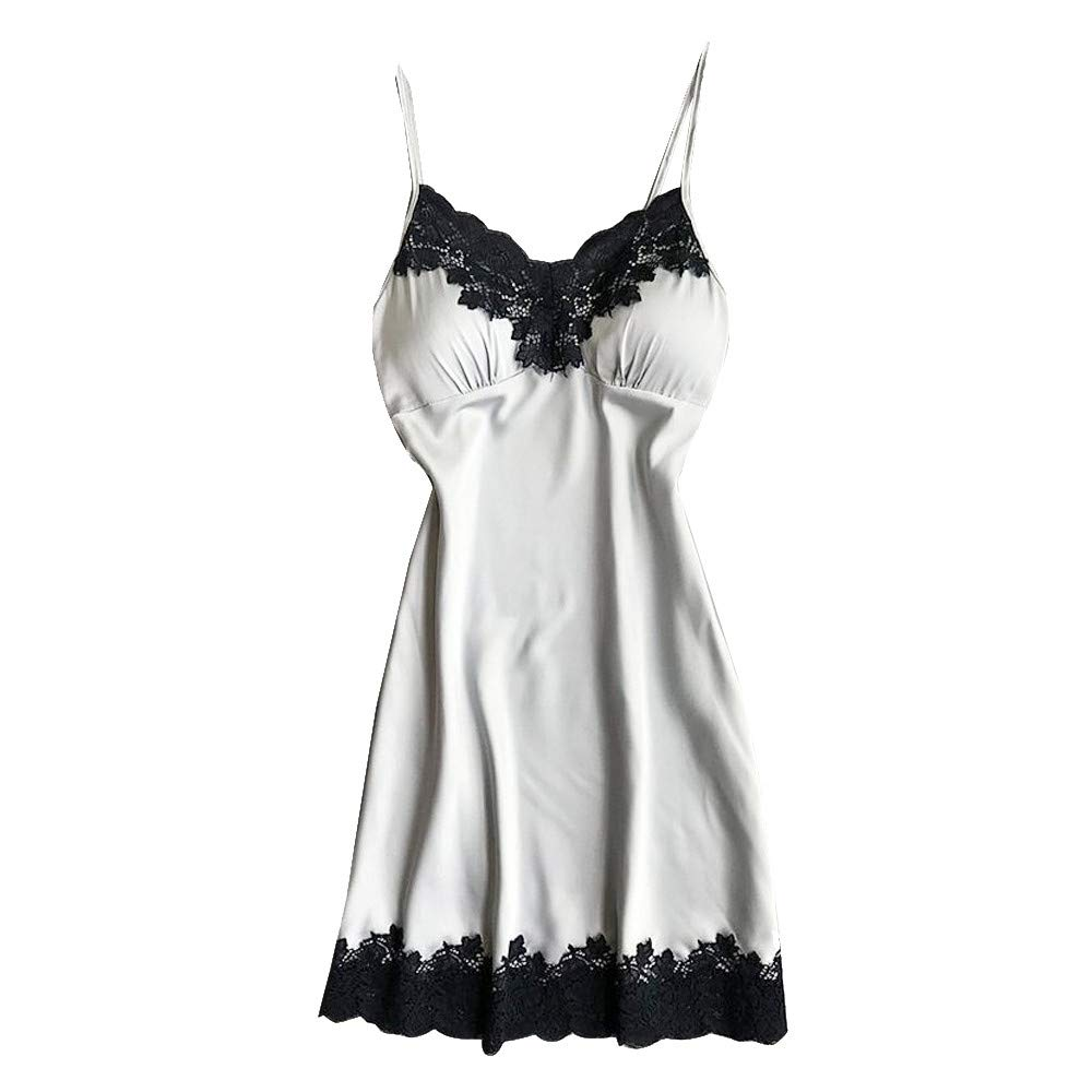 Women Lingerie Satin Sleepwear Sleeveless Lace Splice Nightdress Bandage Sexy Robe with Chest Pads (S, Silver)