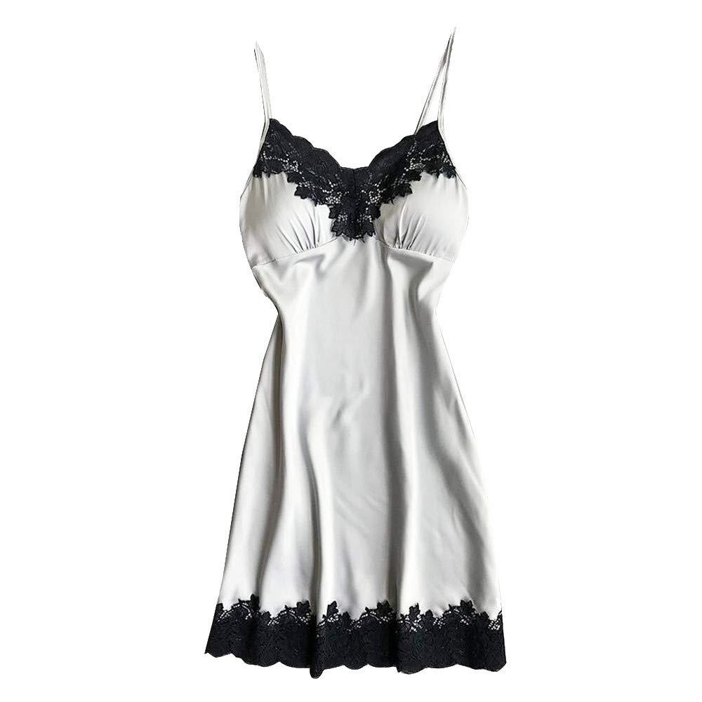 Women Lingerie V Neck Nightwear Satin Sleepwear Lace Trim Chemise Mini Teddy Babydoll Chemise Silver