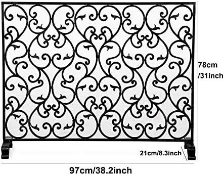 暖炉スクリーン MYL 単一のパネル錬鉄暖炉スクリーン、大型フラットスパークガードメタルインテリアメッシュカバー、赤ちゃんの安全証明薪バーニングストーブアクセサリー (Color : Gold, Size : 97×21×78cm)