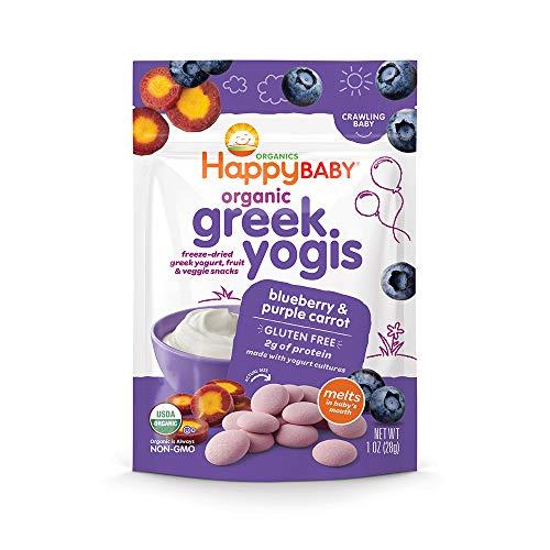 (Happy Baby Organic Greek Yogis Freeze-Dried Greek Yogurt and Fruit Snacks Blueberry/Purple Carrot, 1 Ounce Bag (Packaging May Vary))