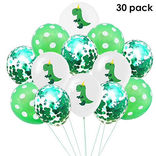 (EASTiii Dinosaur Party Latex Balloons & Confetti Balloons, Jungle Theme Party Decorations Dinosaur Baby Shower/Birthday Party Supplies (30)