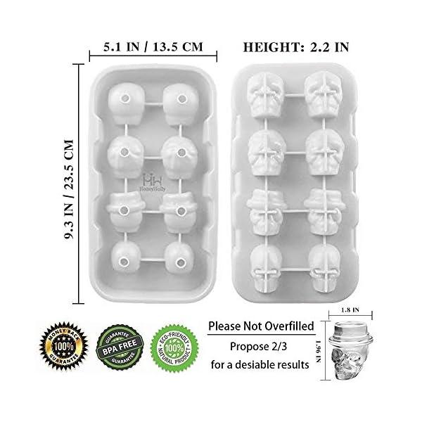 HoneyHolly 3D Del Cranio Cubetto Di Ghiaccio Muffa Con Coperchio, Flessibile Silicone Di Tipo Alimentare Cubetto Di… 2 spesavip