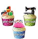 AK Giftshop PRE-CUT Sewing Machine, Cotton Reels and Pin Cushion Mix - Edible Cupcake Toppers/Cake Decorations (Pack of 12)