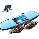 Rearview Mirror Dash Cam - XME Car Video Recorder 4.5 Touch Screen Backup Cameras Dual Lens Dashboard HD Car Recorder DVR 170 Wide Angle Lens G-Sensor Loop Recordin