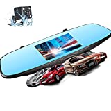 Rearview Mirror Dash Cam - XME Car Video Recorder 4.5' Touch Screen Backup Cameras Dual Lens Dashboard HD Car Recorder DVR 170 Wide Angle Lens G-Sensor Loop Recordin