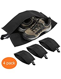 Luxspire Portable 4 Pack Travel Shoe Bags Storage Case with Zipper Closure (15.5 Inch), Black