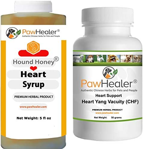 Heart Support – Bundle – Heart-Yang Vacuity CHF – 50 Grams Herbal Powder Hound Honey Heart Syrup – 5 fl oz 150 ml – Coughing, Gagging, Wheezing Due to Heart Condition – Remedy for Dogs Pets