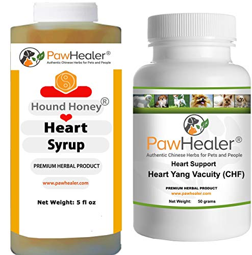 Heart Support - Bundle - Heart-Yang Vacuity (CHF) - 50 Grams Herbal Powder + Hound Honey: Heart Syrup - 5 fl oz (150 ml) - Coughing, Gagging, Wheezing Due to - Congestive Salt Heart Failure