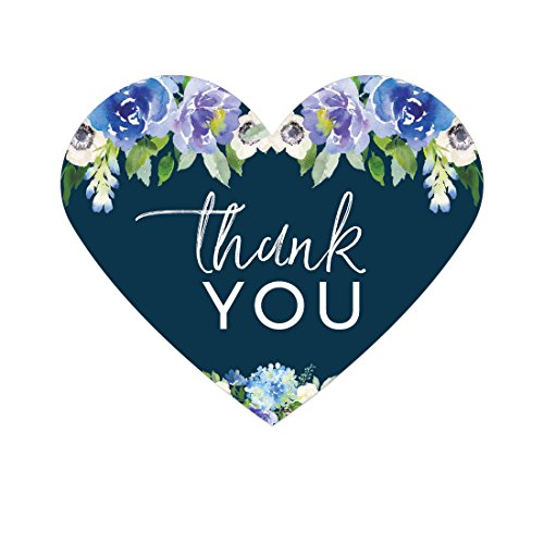 - Andaz Press Navy Blue Hydrangea Floral Garden Party Wedding Collection, Heart Label Stickers, Thank You, 75-Pack
