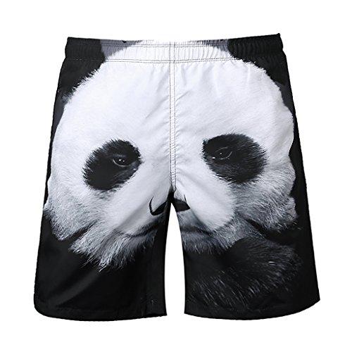 Del Playa Cortos Resaca Tablero Negro 3d Los De La Hombres Impresión Panda Fityle Pantalones Blanco 1ZgqYY
