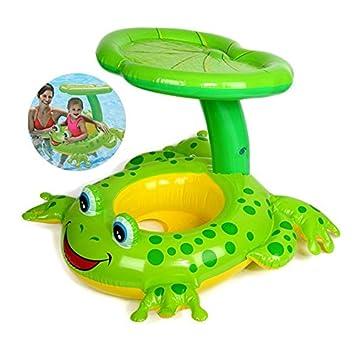 BIGWING Style-Flotador para bebé Aro Salvavida para Niño con Asiento a Parasol en Piscina Infantil 51,30 x34,30 Pulgada, Rana: Amazon.es: Juguetes y juegos