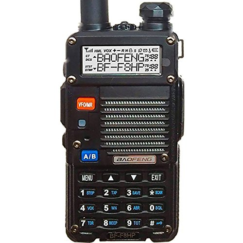 BaoFeng BF-F8HP (UV-5R 3rd Gen) 8-Watt Dual Band Two-Way Radio (136-174MHz VHF & 400-520MHz UHF) Includes Full Kit with Large Battery Tech Full Kit