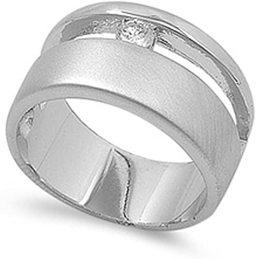 Aokarry 925 Sterling Silver Mens Signet Ring Personalized Iced Out Ring Round Cubic Zirconia Ring 5-12