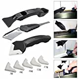 #2: YRD TECH 3Pcs Silicone Scraper Caulking Grouting Tool Sealant Finishing Cleaning Kit Set (Black)