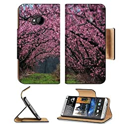 Cherry Blossom Tree Nature Scenery HTC One M7 Flip Cover Case with Card Holder