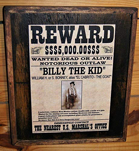 Vintage Billy the Kid Wanted Poster - Wooden Sign