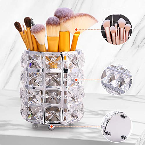 Sooyee Sliver Gold Makeup Brush Holder Organizer,Golden Crystal Bling Cup Storage Box Container for Comb Brushes, Pen,Pencil,Cosmetic and More Crystal Pot