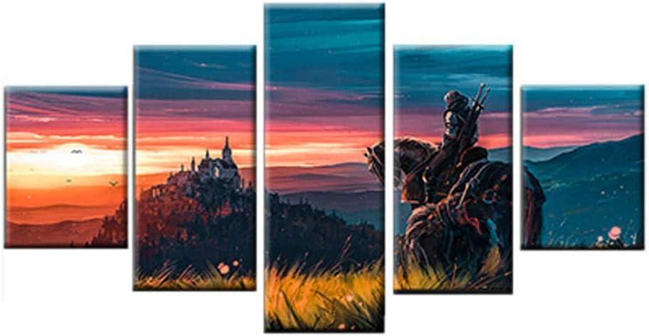 Pintura al óleo guerrero a caballo 5 lienzos decorativos con impresión estilo moderno, salones Cuadro sobre Lienzo Pintura Estar Dormitorio Decoración Mural Artes Pared Regalo Carteles con Marco