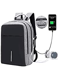 Bolsa de Viaje, Mochila portátil Backpack para Laptop con USB Puerto de carga y de audífonos para mujeres y hombres, Lock y compartimiento de auricular para Tableta Ipad de hasta 15-16 pulgadas para Excursionismo al Aire Libre Viaje de Camping (Gris)