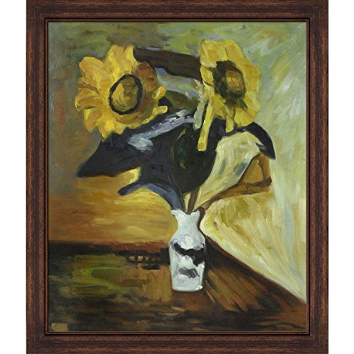 Matisse Vase of Sunflowers with Copper Sweep, Dark Wood Frame with wood wall art