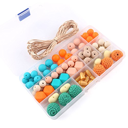 DIY Teething Toys Mixed Color Geometry Hexagonal Round Silicone Beads Pacifier Clips Kits Peach Heart Round Crochet Beads Safety for Baby Tooth Nursing Necklace/Bracelet