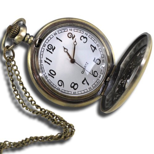 Mighty Gadget MG0001 Vintage Style Analog Quartz Antique Pocket Watch with 31-Inch Chain (Costume Pocket Watch)