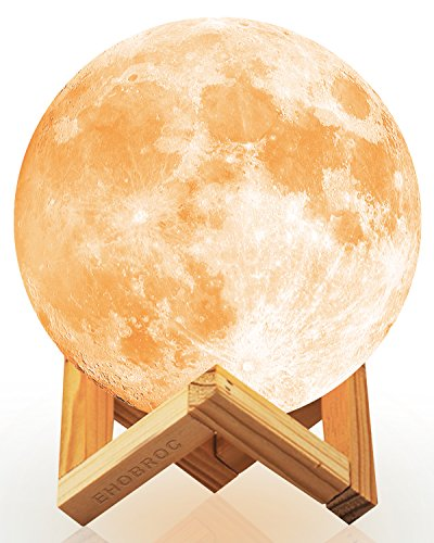 Ehobroc Moon Lamp, 3D Printing Moon Globe Light 5.9 Inch Glowing Moon Lamp Tap Change 3 Colors (Cool/Warm White and Yellow), Decor Moon Light for Kids, Birthday, Bedside ()