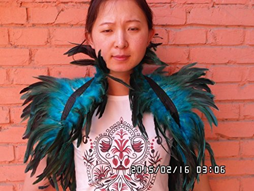 32inch Long 2 Layer Turquoise Hnadmade Feather Cape SHAWL Shrug Shoulders Halloween costume ,vintage capelet for Adult