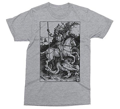 (Albrecht Durer - St. George - Vintage Engraving, Religion, Bible T-Shirt [Color - Heather Grey, Size - XL])