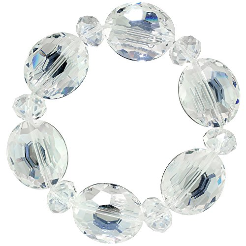 Clear Oval & Round Faceted Crystal Beads Stretch Bracelet, 7 inch - Bracelet Faceted Stretch Beads Oval