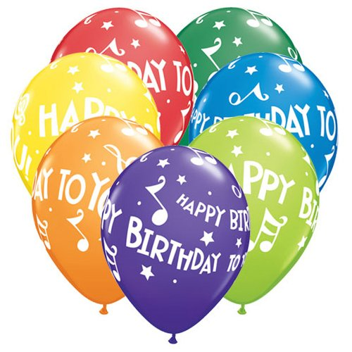Qualatex Latex Balloons 19068-Q HAPPY BIRTHDAY TO YOU MUSIC NOTES 11