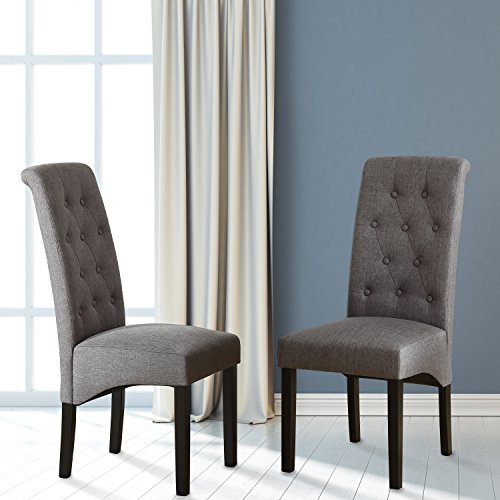 LSSBOUGHT Button-tufted Classic Accent Dining Chairs with Solid Wood Legs, Set of 2 (Gray) For Sale