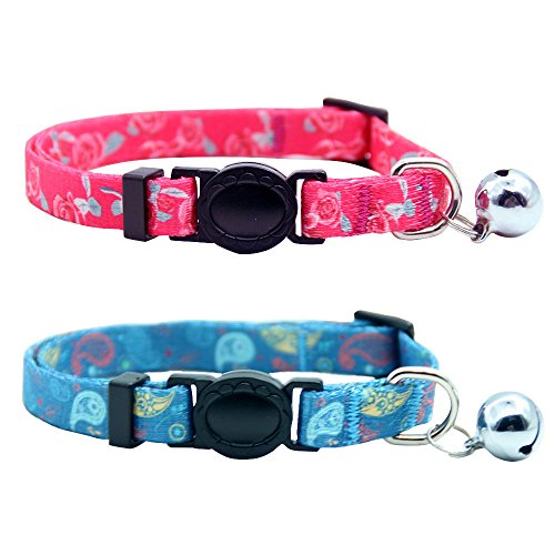 Paisley Cat Collar - EXPAWLORER Breakaway Cat Collar Set with Bell Adjustable Cat Collar with Release Buckle, Blue Paisley and Pink Rose Style Design, Pack of 2