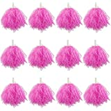 Hslife 12 Pack Pink Plastic Cheerleading Pom Poms, Sports Dance Cheer Plastic Pom Pom for Rooters,Cheering Squard,Cheering Team(30 Grams Weight Each)