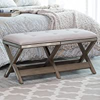 Belham Living Cushioned Indoor Bench with Mirrored Frame
