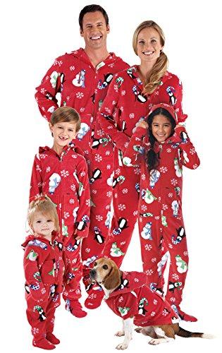 PajamaGram Hoodie-Footie Winter Whimsy Matching Family Pajama Set Red Men 's XX-Large